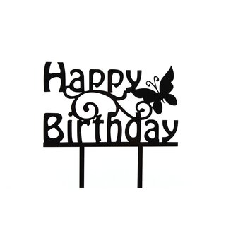 Cake Topper Happy Birthday Schmetterling schwarz